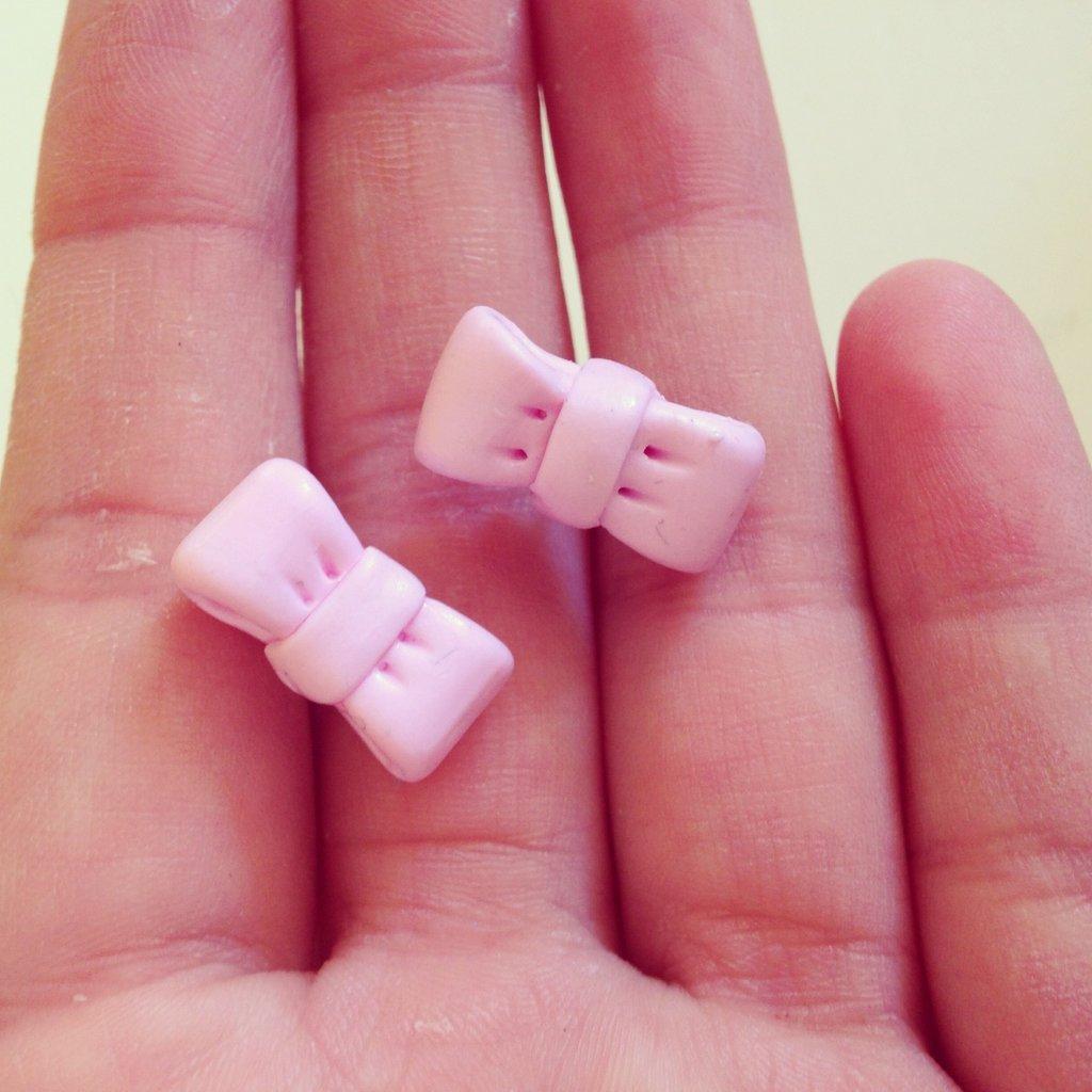 Orecchini Fiocco rosa in Fimo
