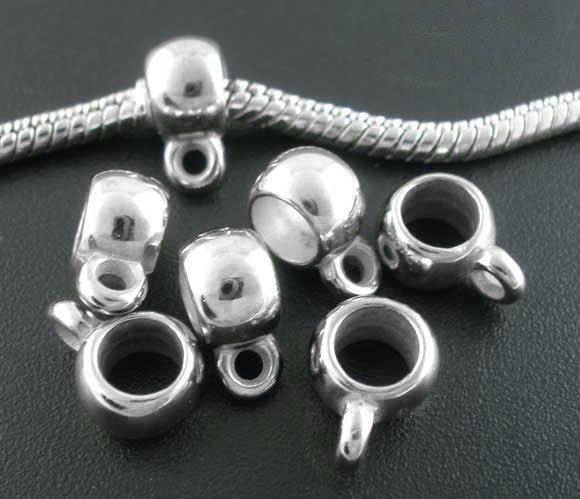 10 perle ganci  a foro largo per Pendente/Ciondoli argento scuro