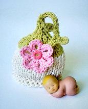 """Cappellino """"Primavera"""" Abbigliamento bebè fatto a mano"""