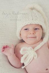Cappellino ecologico per neonato fatto a mano. Photo prop. Accessori neonato lana biologica. Abbigliamento Bambino.