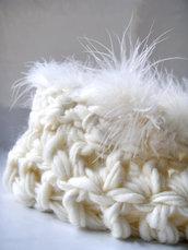 Accessori neonati Nido bozzolo per neonato Photo prop Crochet artistico Foto nascita Battesimo Nido bozzolo Bianco con piume