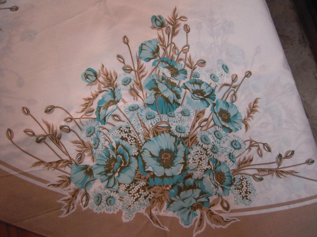 Fiera del bianco vintage: tovaglia misto cotone marrone fiori azur anni 70 NUOVA