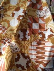 Fiera del bianco vintage: tovaglia in misto cotone beige marrone anni 70 NUOVA