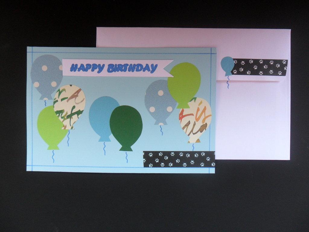 """Biglietto """"happy birthday"""" azzurro"""