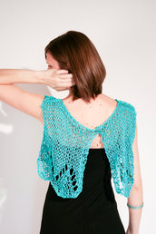 Boho Mini Cardigan Coprispalle Bolero Scialle Poncho Top Turchese Hippy chic
