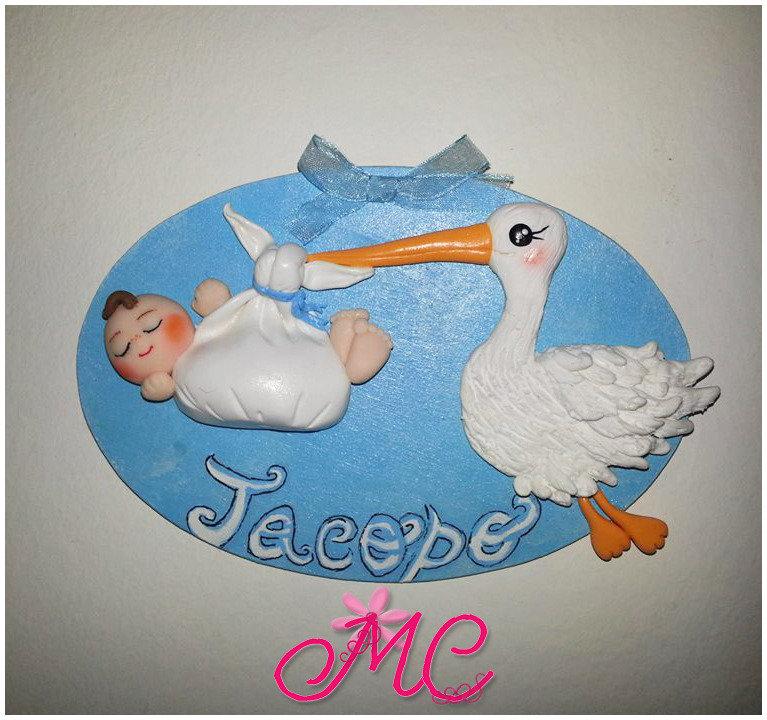 Targhetta nascita per bimbo e bimba personalizzata in fimo e legno