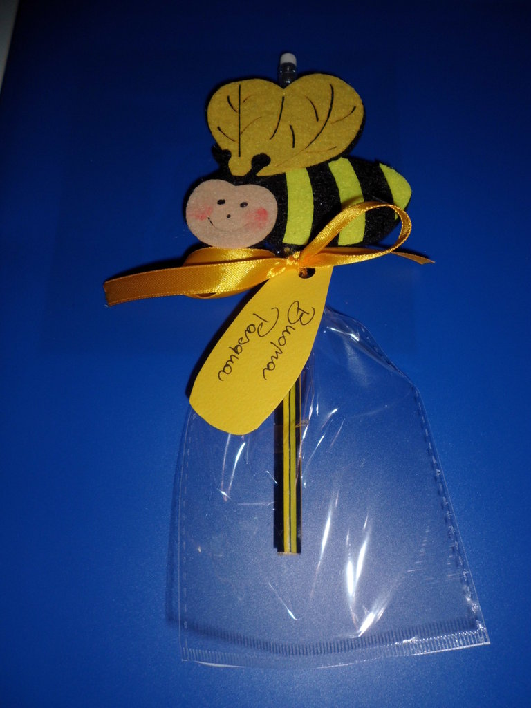 matita con gomma decorazione in feltro ape buona pasqua