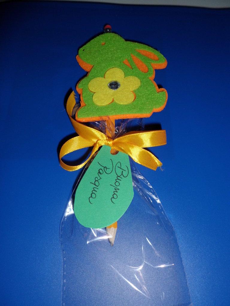 matita con gomma decorazione feltro buona pasqua coniglio