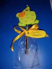 matita con gomma decorazione in feltro buona pasqua con gallina