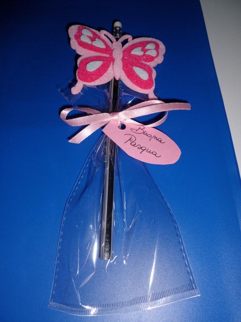 matita con gomma decorazione in feltro buona pasqua con farfalla rosa
