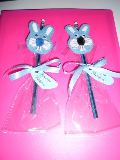 matita con gomma decorazione in feltro buona pasqua coniglio azzurro