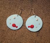 Orecchini palla pesciolino rosso acquario - pendenti