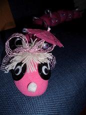 bruco paraspifferi di colore rosa portafortuna fatto a mano