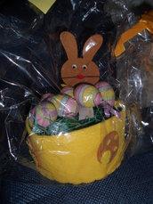cestino pasqua coniglio con 6 uova feltro fatto a mano