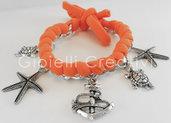 Bracciale in lycra con ciondoli charms a forma di tartaruga, stella marina e ancora