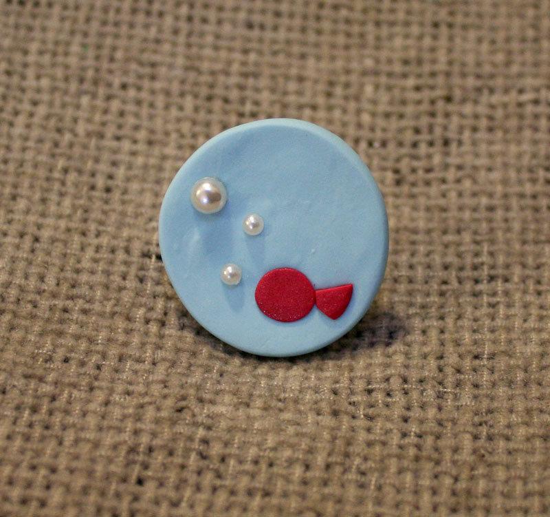 Anello regolabile pesce rosso palla di vetro