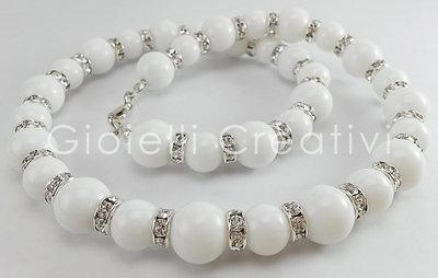 Collana donna Glamour in Giada bianca e Strass