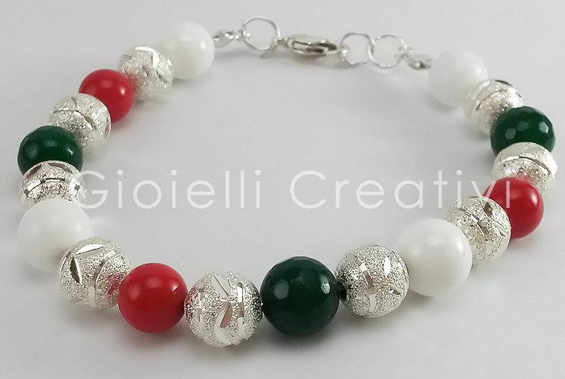 Bracciale da donna glamour in Giada, pasta di corallo e sfere color argento