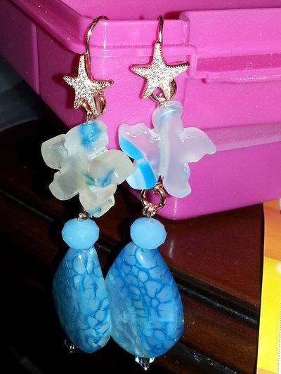 orecchini con gancio in argento rodiato con stella marina