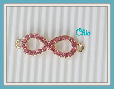 1 connettore link infinito strass rosa