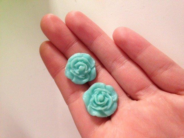 Orecchini Rosa in Fimo color Tiffany