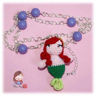 Collana uncinetto amigurumi Ariel la sirenetta