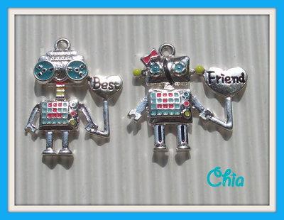 2 charms robottini best friends