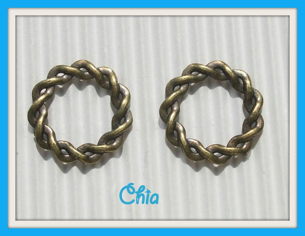set 4 charms divisori connettori cerchio intrecciato in bronzo