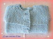 Golfino di lana azzurro, per neonato da 0-3 mesi, realizzato a mano ai ferri