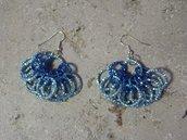 """orecchini in catena azzurra """"ondina"""" fatti a mano"""