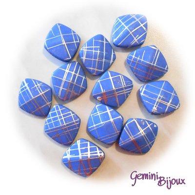 Lotto 4 rombi grandi in acrilico variegato blu
