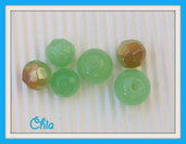 set 6 perle vetro 3 forme verde chiaro