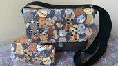 borsa tracolla grigia con gatti