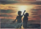 Dipinto bambine al tramonto