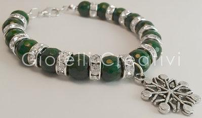 Bracciale charm braccialetto moda Glamour pietre charms Giada Strass