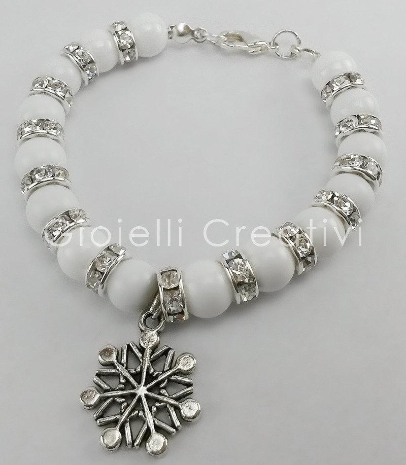 Bracciale charm Giada bianca e strass donna Glamour color argento