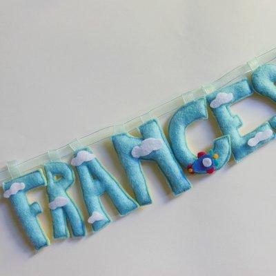 FRANCESCO. Ghirlanda nome fatta con lettere di feltro imbottite