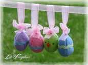 Set di quattro ornamenti di Pasqua (3 uova di Pasqua, 1 Pulcino) - decorazioni per la casa fatti a mano, ornamento, regalo