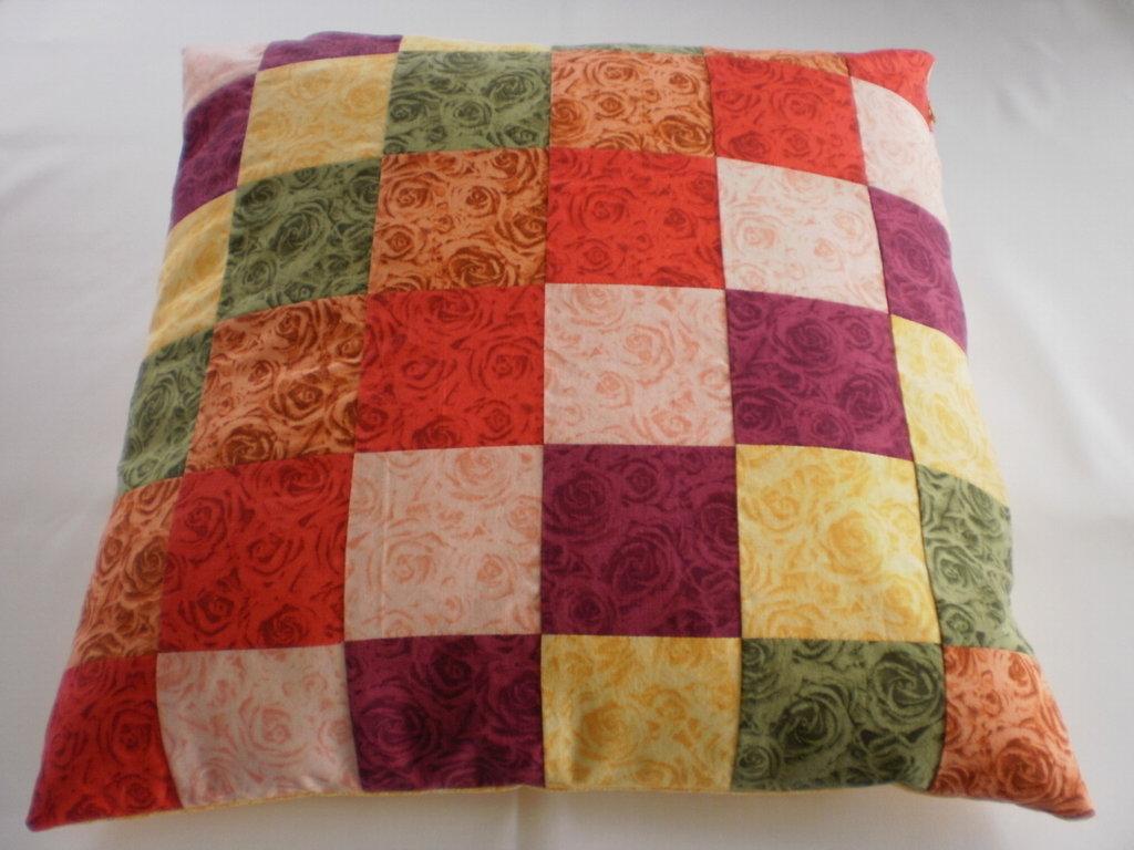 Cuscino patchwork multicolore 50x50