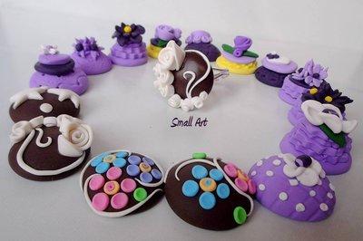 Anello cioccolatini e cup-cake regolabile in fimo senza stampi