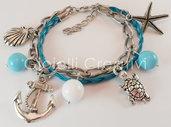 bracciale multifilo con treccia e catena, charms e pietre in giada