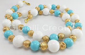 Collana elegante color oro da donna con pietre in giada e pasta di turchese