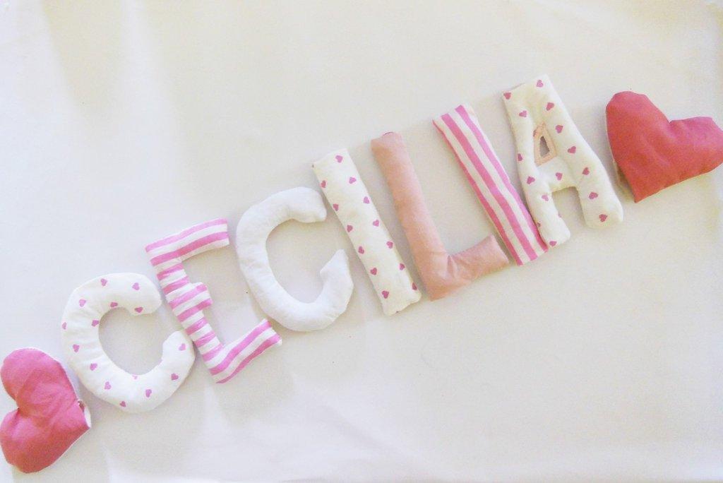 CECILIA: targa nascita con nome scritto in lettere di stoffa bianca e rosa