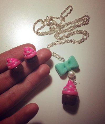 Collana e orecchini Cupcake Rosa in Fimo