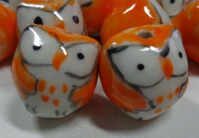 5 Perline Gufetti Porcellana colore ARANCIONE