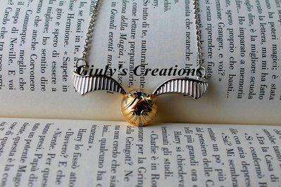 collana con BOCCINO D'ORO REALISTICO di Harry Potter real golden snitch HARRY POTTER