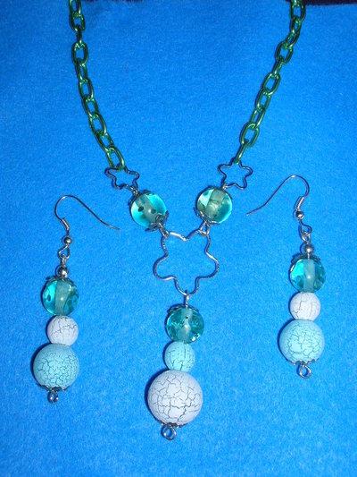 Parure perle craquelè verde-bianco