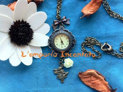 """Collana/Orologio  """"Bianconiglio"""" con vero orologio funzionante"""
