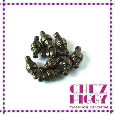 6 x perle geometriche -  bronzo