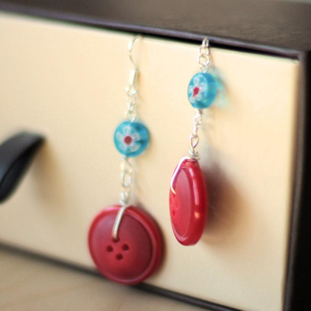 O8.14 - Orecchini pendenti rossi - Linea Miro